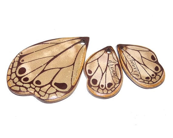 Ceramic Butterfly Wing Pendant & Charms Set Porcelain Pottery