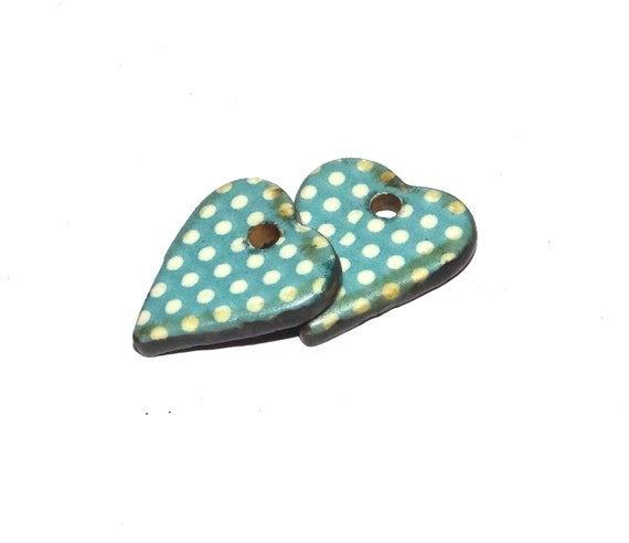 Ceramic Charm Pair Set Porcelain Handmade Spotty Turquoise Hearts