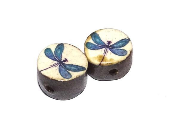 Ceramic Snail Bead Set Pair Inspirational Nature