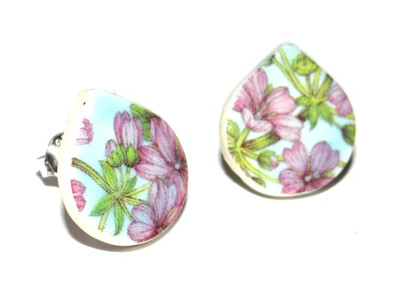 Handmade Ceramic Sterling Silver Stud Earrings Colourful Floral Blue Lilac