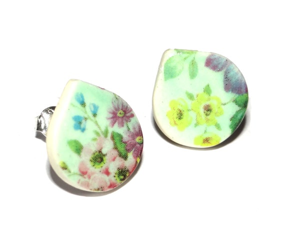 Handmade Ceramic Sterling Silver Stud Earrings Colourful Floral Mint