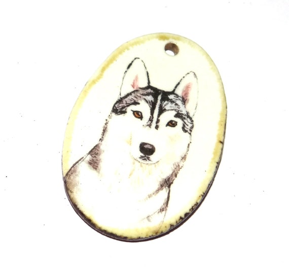 Ceramic Dog Handmade Focal Pendant Necklace Pet Husky