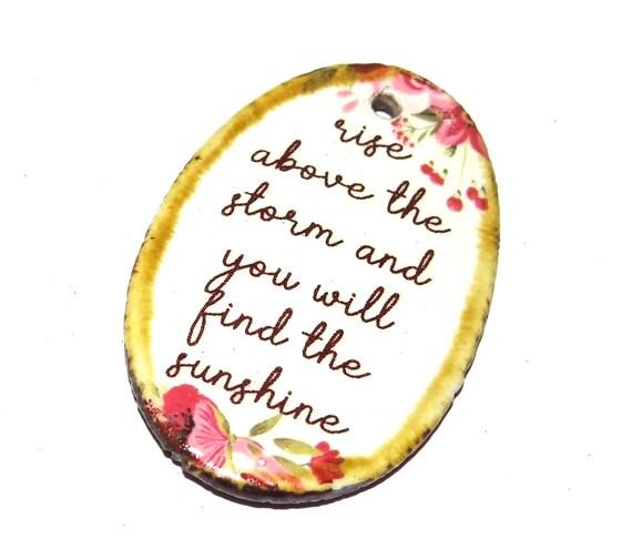 Ceramic Quote Pendant Word Handmade Focal