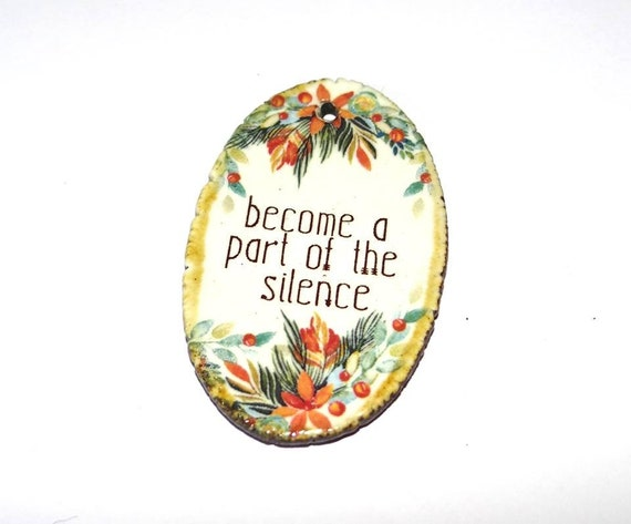 Ceramic Quote Pendant Word Handmade Focal