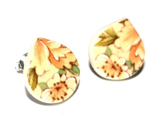 Handmade Ceramic Sterling Silver Stud Earrings Colourful Peach