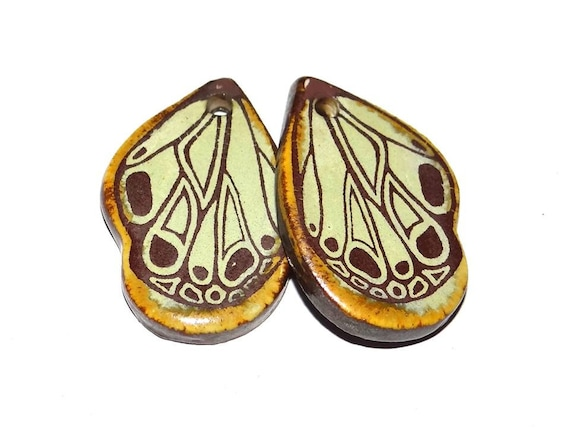 Ceramic Wing Earring Charms Pair Stoneware Pottery