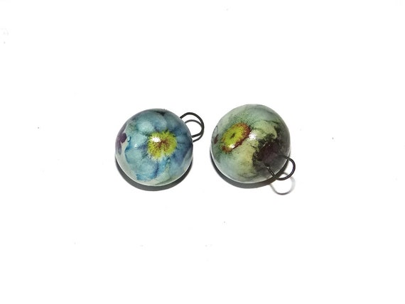 Ceramic Floral Bead Charms Dangles Handmade Pottery Beads Rustic Earthy Flower Porcelain