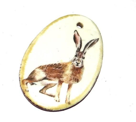 Ceramic Hare Wildlife Handmade Focal Pendant Porcelain Forest Countryside Wildife