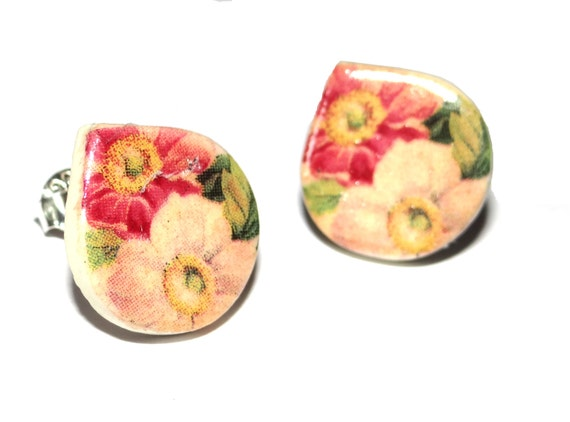 Handmade Ceramic Sterling Silver Stud Earrings Colourful Floral Peach Pink