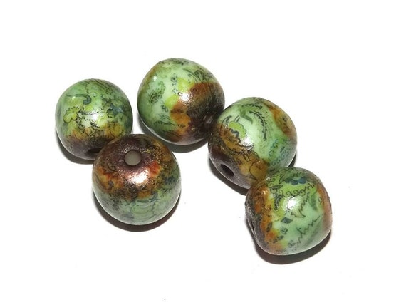 Ceramic Floral Patterned Beads Porcelain Green Rustic