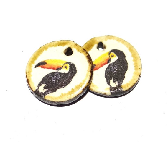 Unusual Toucan Bird Ceramic Earring Charms Pair Tropical Stoneware Pottery