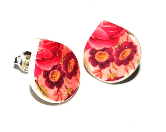 Handmade Ceramic Sterling Silver Stud Earrings Colourful Floral Pink