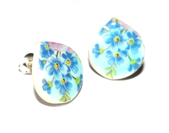 Handmade Ceramic Sterling Silver Stud Earrings Colourful Blue