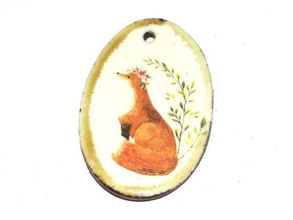 Ceramic Fox Pendant Stoneware Handmade