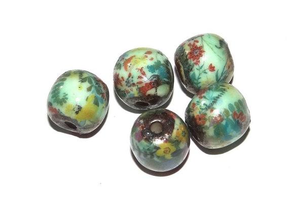 Ceramic Floral Beads Aqua Handmade Porcelain