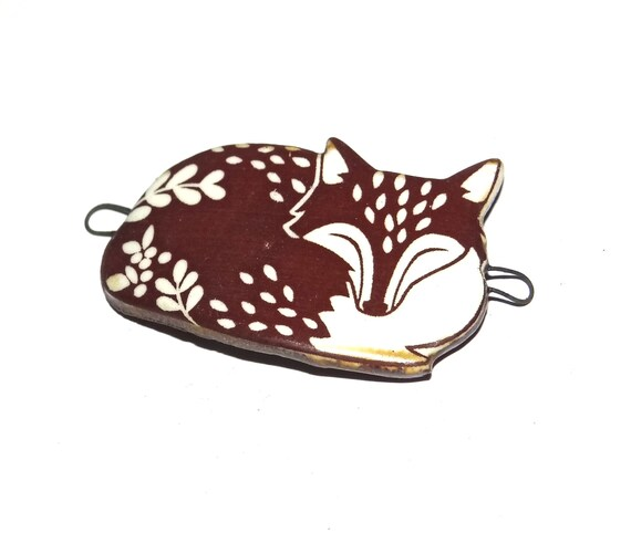 Ceramic Fox Bracelet Bar Component Porcelain Handmade Pottery Wildlife