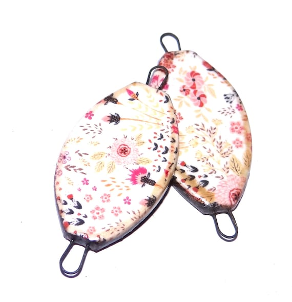 Ceramic Earring Charms Pair Stoneware Pottery Floral Pink Flowers Leaves