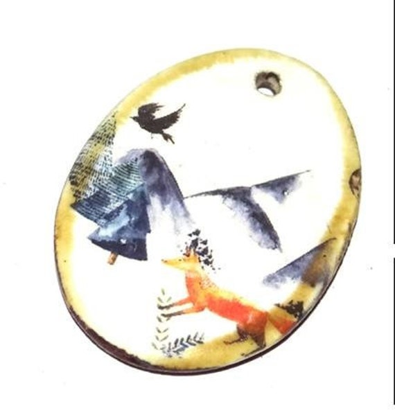 Ceramic Fox Crow Handmade Focal Pendant