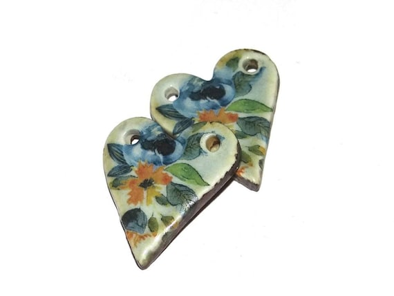 Ceramic Earring Charms Pair Rustic Stoneware Pottery Hearts Blue
