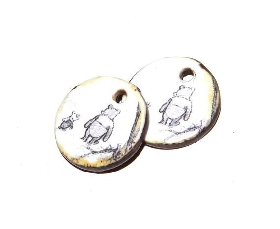 Ceramic Pooh Bear Piglet Milne Earring Charms Pair Beads Handmade Rustic