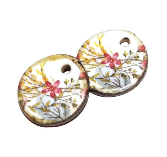 Ceramic Floral Earring Charms Pair Handmade Pottery Beads Rustic Spring