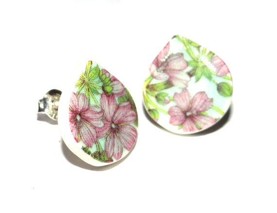 Handmade Ceramic Sterling Silver Stud Earrings Colourful Floral Mint Lilac