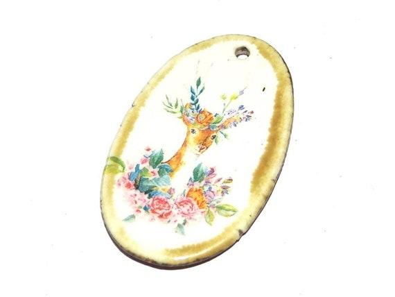 Ceramic Porcelain Deer Stag Floral Pendant Handmade