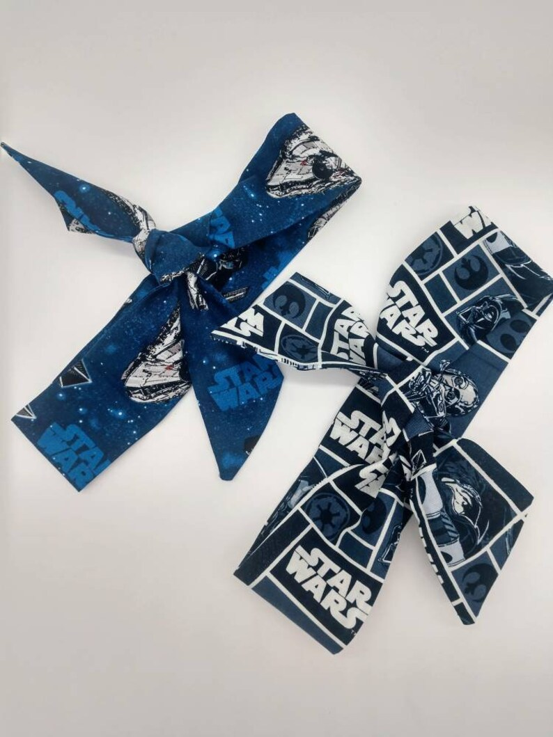 Millennium Falcon or Darth Vader Self Tie RTS Comic Con 1st Birthday Star Wars Headband Top Knot Hair Sash Fabric Hair Wrap