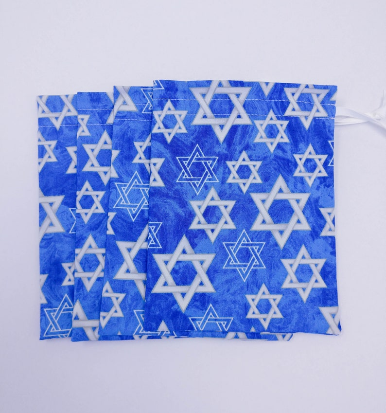 Set of 4 Ready to Ship Hanukkah Fabric Gift Bag Blue and White Star of David Fabric Fully Lined Reusable Drawstring Eco-Friendly
