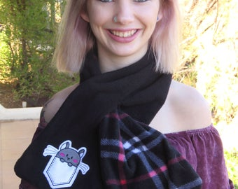 Adorable Fleece Pull-Through Scarf with Chinchilla Embroidered Patch