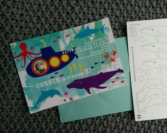 Ocean theme with sea creatures - 15 invites + envelopes - coloring page back