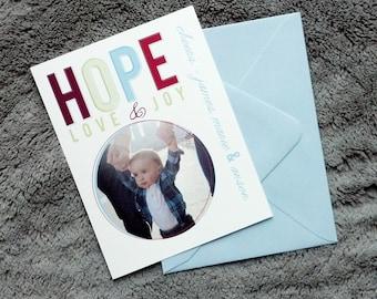 HOPE love joy holiday customized flat photo cards with envelopes  - half proceeds to JWRC