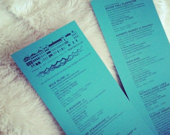 2-sided welcome guest guide for a destination wedding