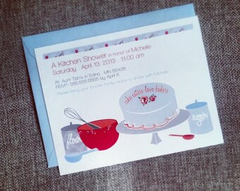 cake eaters love bakers kitchen themed bridal shower custom invitations with recipe cards