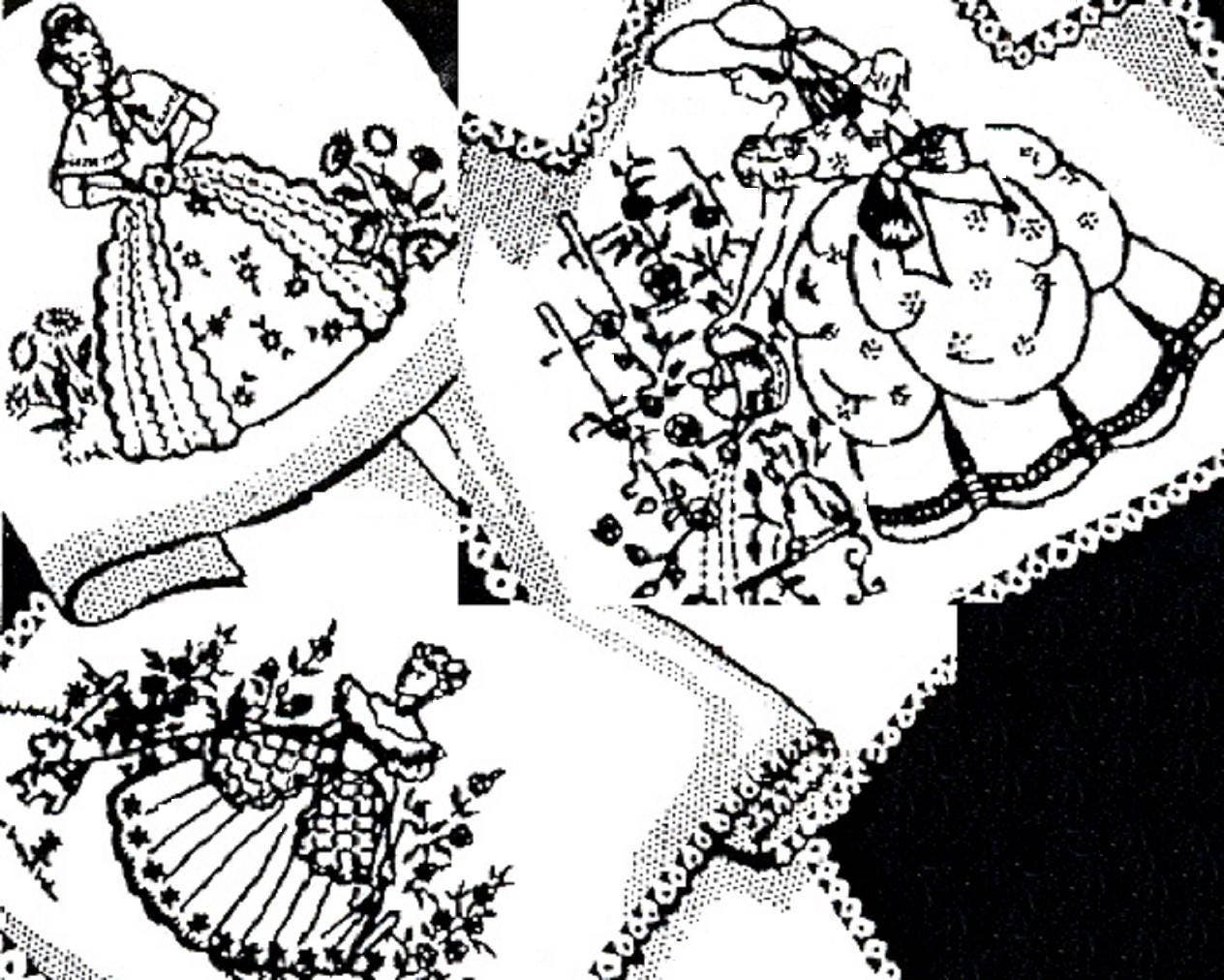 Belle meridional 3 crinolina de señora con bordado de perro | Etsy