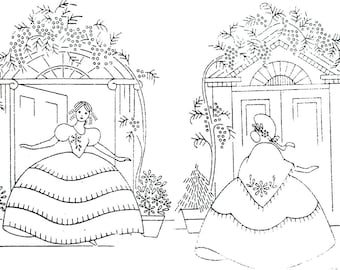 2 Southern Belle / Crinoline Lady embroidery pattern BB