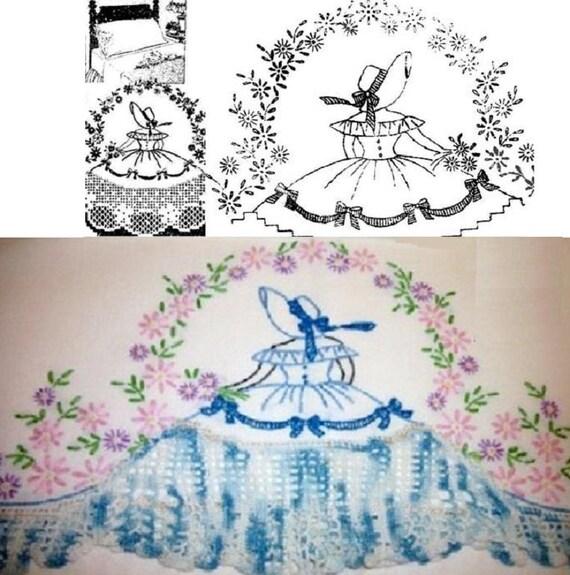 Southern Belle Crinoline Lady Pillowcase Crochet Embroidery Etsy