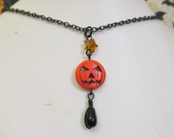 Creepy Cute Halloween Jack-o-lantern and Star Bead Charm Necklace on Metallic Black Chain