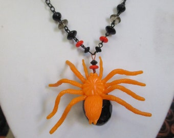 Halloween Tricks Large Toy Spider Beaded Charm Statement Necklace