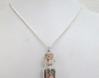 Love Token Small Glass Vial Charm Necklace with Unakite Chips