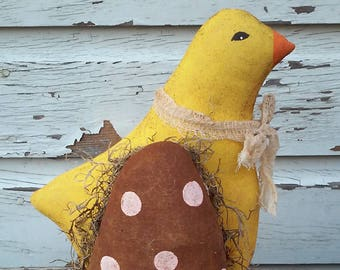 Primitive Easter Chick with Egg Tuck/Ornie