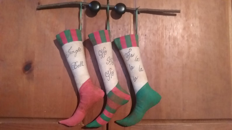 Primitive Mini Christmas Stocking Trio