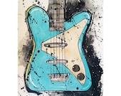 Danelectro Electric Guitar Original Painting Blue