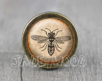 Bee Glass Cabochon Bronze Cabinet Dresser Knobs Pull / Dresser Pull /  Cabinet Knobs / Furniture Knobs