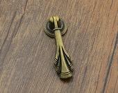 Antique Bronze Vintage Drop Dresser Pull Handle Knob Pulls Handles Small Cabinet Pull Handle Knobs Furniture Hardware QM042