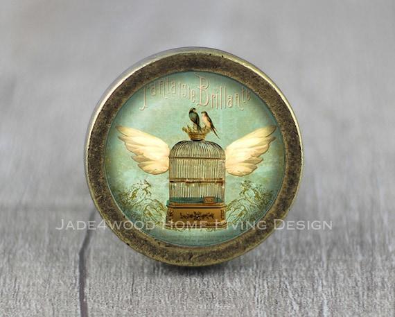 Vintage Bird Glass Cabochon Cabinet Knob Dresser Knobs Dresser Pull Furniture Knobs