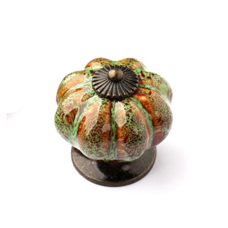 Ceramic Pumpkin Knobs Kitchen Dresser Knob  Drawer Knobs Pulls Handles  Porcelain Pumpkins Decorative Hardware WM863
