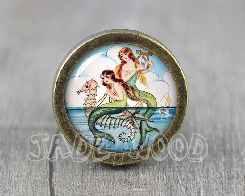 Mermaid Glass Cabochon Bronze cabinet Dresser Knobs pull  Dresser Pull  Cabinet Knobs  Furniture Knobs