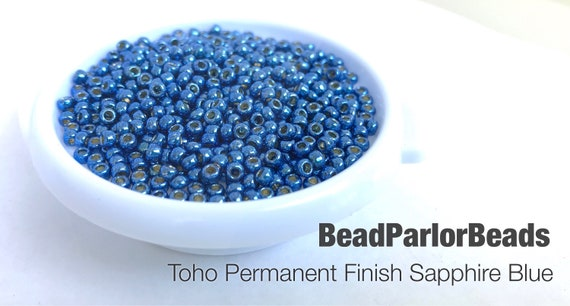 Toho PF586 Size 110-28 grams Toho PermaFinish Sapphire Blue Glass Seed Beads BP-P495G