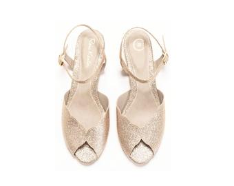 The Ahuva Sparkly Gold Vegan Bridal Flat Sandal, Vintage Inspired Summer Wedding Shoe